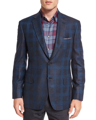 Plaid Two-Button Jacket, Gray/Blue
