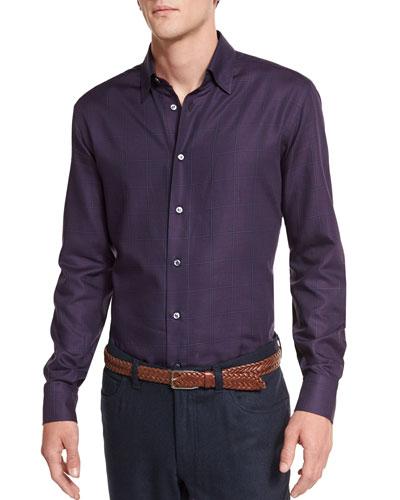 Plaid Long-Sleeve Sport Shirt, Burgundy