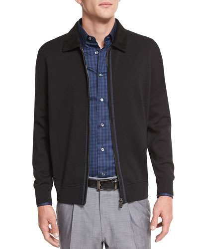 Full-Zip Jacket with Suede Trim, Black