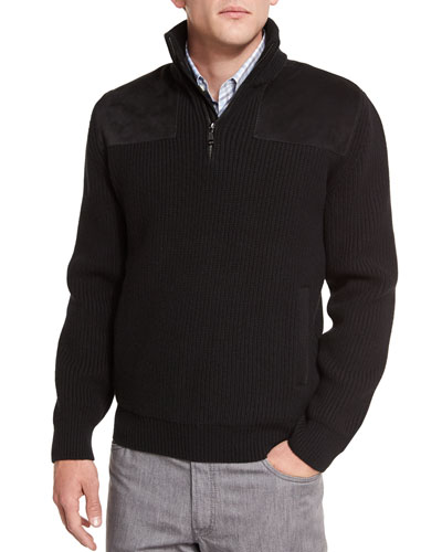 Half-Zip Pullover Sweater with Suede Trim, Black