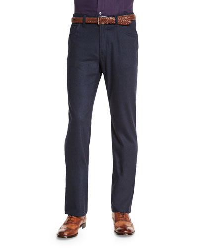 Wool-Blend Five-Pockets Pants, Navy