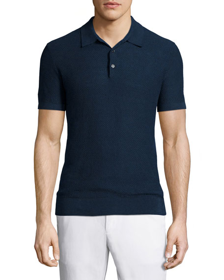 Michael Kors Textured Linen-Blend Short-Sleeve Polo, Navy