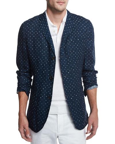 Batik Diamond-Print Blazer, Navy