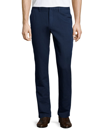 Flat-Front Linen Trousers, Navy