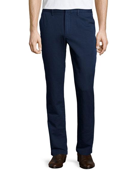 Michael Kors Flat-Front Linen Trousers, Navy