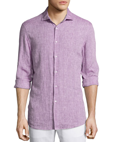 Michael KorsLong-Sleeve Linen Shirt, Pink