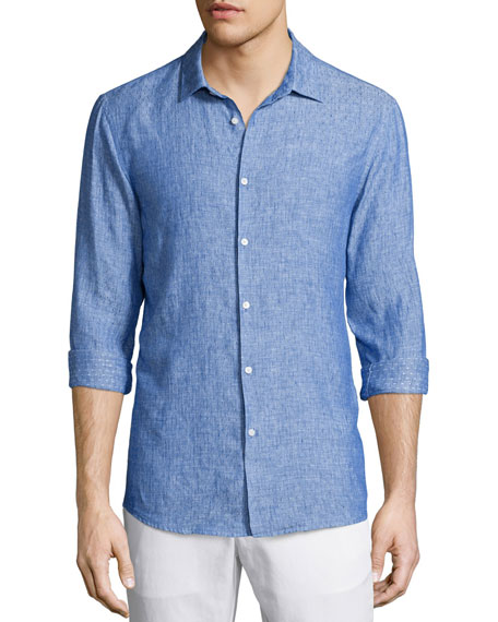 Michael Kors Textured Dobby Slim-Fit Linen Shirt, Blue