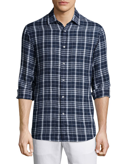 Michael Kors Tailored Plaid Long-Sleeve Shirt & Flat-Front