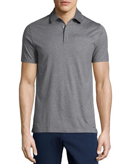 Michael KorsCotton/Silk Short-Sleeve Polo Shirt, Gray