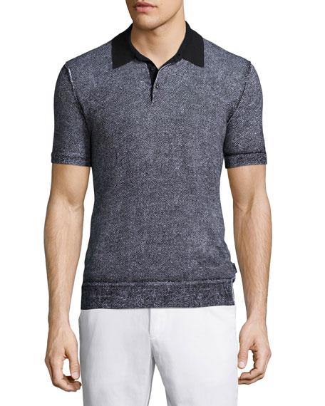 Michael Kors Fan-Print Short-Sleeve Polo Shirt, Navy