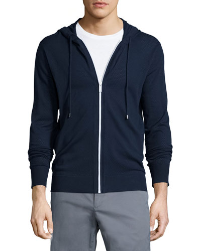 Airtex Full-Zip Perforated Hoodie, Navy