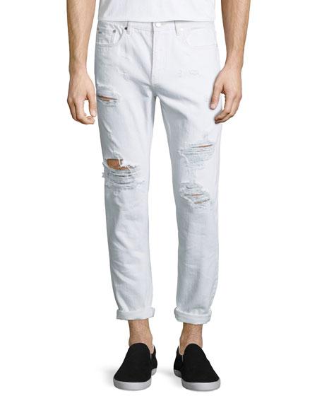 Michael Kors Five-Pocket Distressed Denim Jeans, White