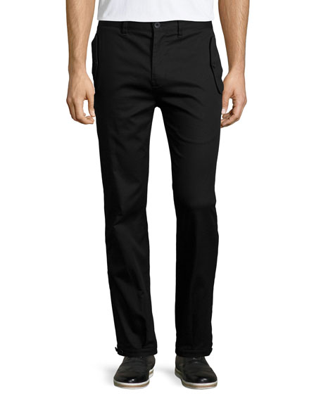 Helmut Lang Flap-Pocket Straight-Leg Trouser Pants, Black