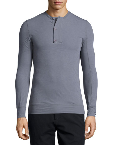 Helmut Lang Micro-Rib Long-Sleeve Henley Shirt, Heather Gray
