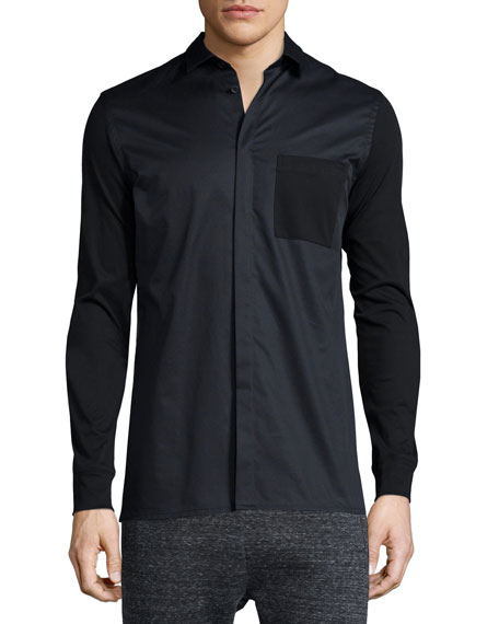 Helmut Lang Two-Tone Long-Sleeve Shirt, Black