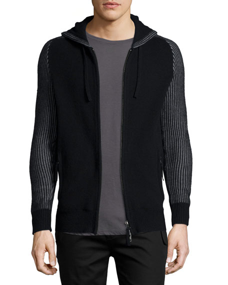 Helmut Lang Zip-Front Hooded Cashmere Sweater, Black
