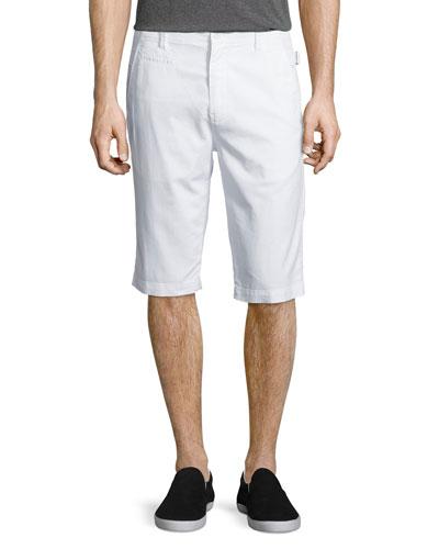 Side-Adjuster Flat-Front Shorts, White