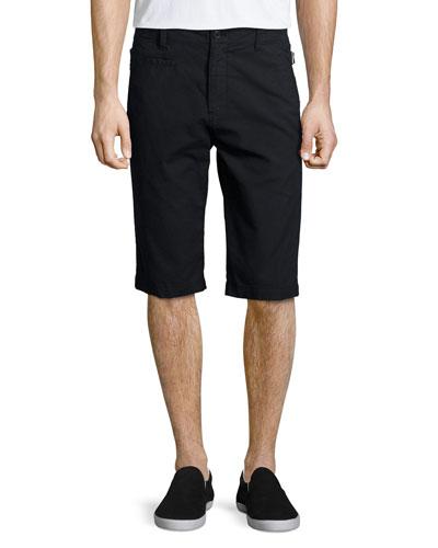 Side-Strap Slim-Fit Shorts, Black