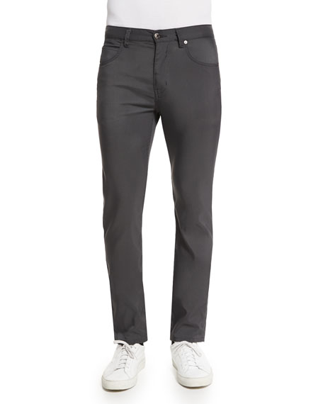 Helmut Lang Five-Pocket Tech Canvas Straight-Leg Pants, Charcoal