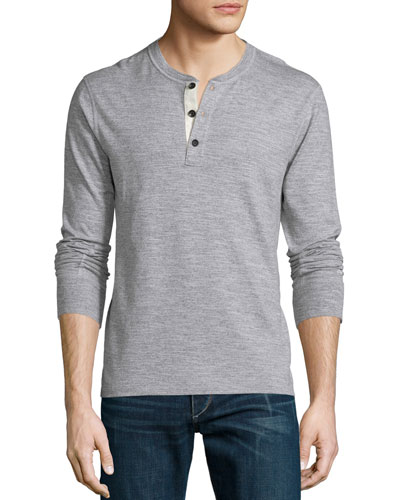 Basic Long-Sleeve Henley Shirt, Gray