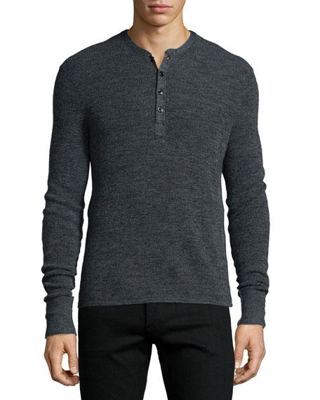 Rag & Bone Garrett Long-Sleeve Henley Shirt, Charcoal
