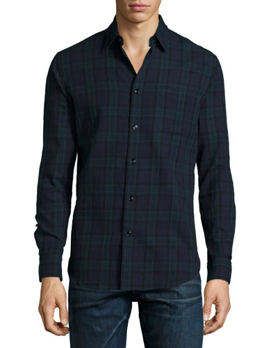 Check Long-Sleeve Sport Shirt, Green