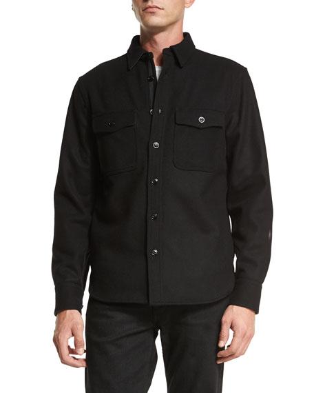 Rag & Bone Button-Down Shirt Jacket, Black