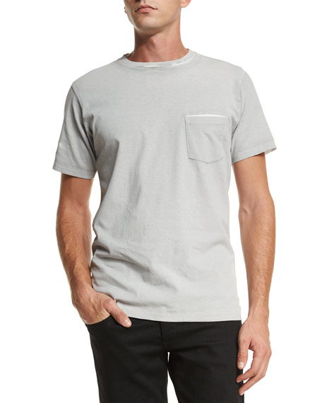Rag & Bone Garment-Print Short-Sleeve T-Shirt, Gray