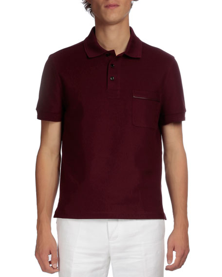 Berluti Short-Sleeve Polo with Leather Detail, Wine