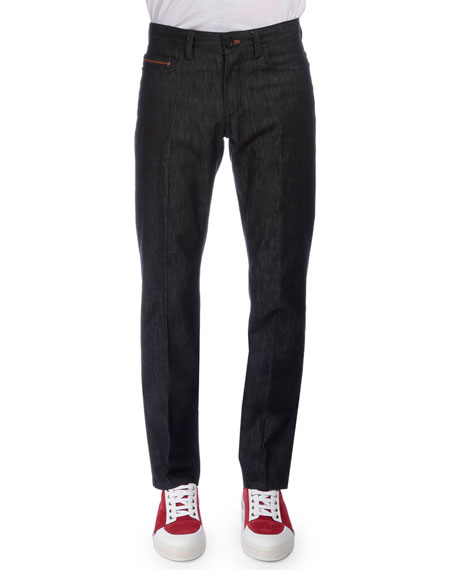 Berluti Stretch Denim Jeans with Leather Detail, Navy