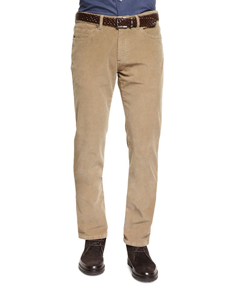 Ermenegildo Zegna Five-Pocket Corduroy Pants, Beige