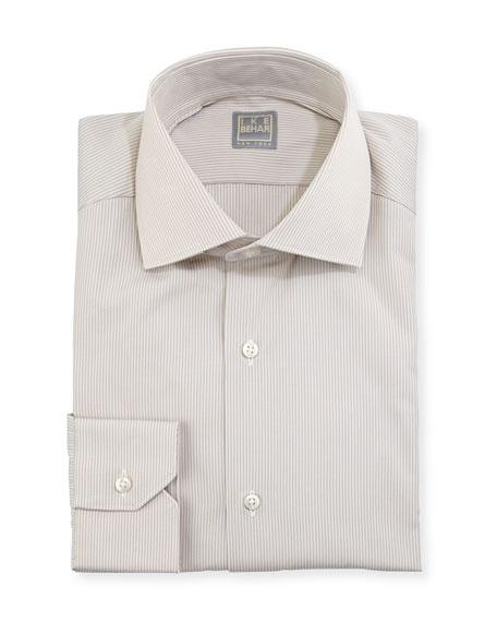 Ike Behar Hairline-Striped Dress Shirt, Tan