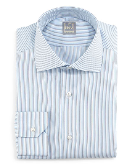 Ike Behar Skinny-Striped Woven Dress Shirt, Blue