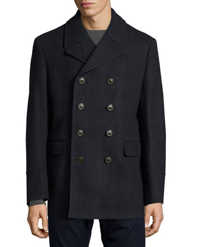 Double-Breasted Cotton Peacoat, Navy