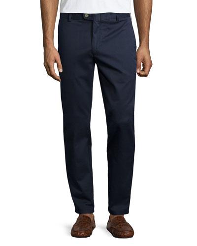 Flat-Front Slim-Leg Pants, Navy