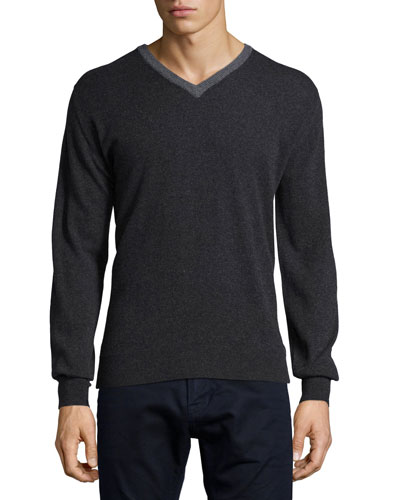 Contrast-Trim Cashmere Sweater, Charcoal