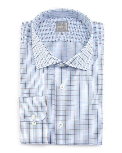 Check Woven Dress Shirt, Blue/Brown