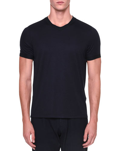 V-Neck Short-Sleeve Tee, Navy