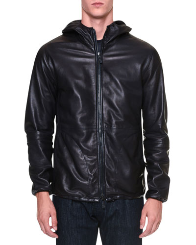 Leather Zip-Up Hoodie, Navy