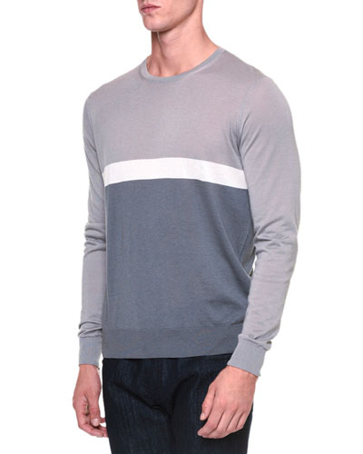 Colorblock Crewneck Sweater, Light Gray/Ice