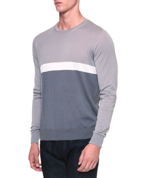 Giorgio Armani Colorblock Crewneck Sweater, Light Gray/Ice