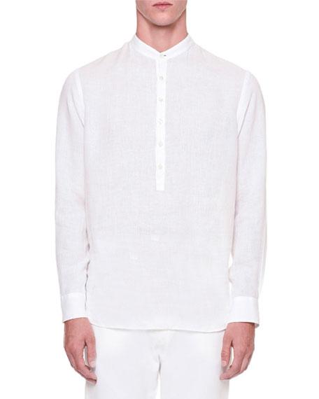 Giorgio Armani Long-Sleeve Popover Linen Shirt, White