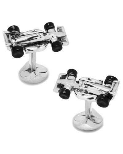 Race Car Cuff Links, Silver-Plate