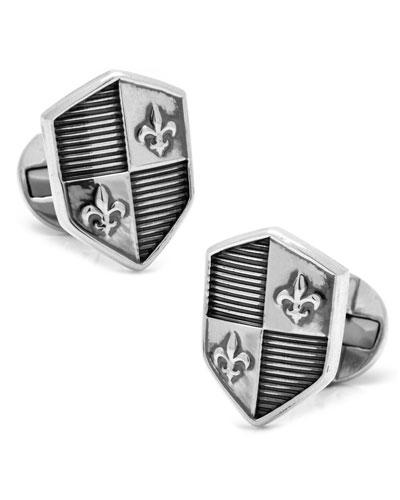 Sterling Silver Shield Cuff Links