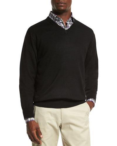 Merino Wool V-Neck Sweater, Black