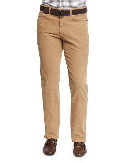 Peter Millar Five-Pocket Stretch Corduroy Pants, Beige