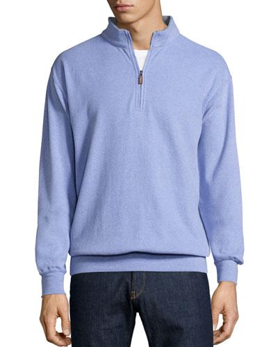 Melange Fleece Quarter-Zip Sweater, Fog