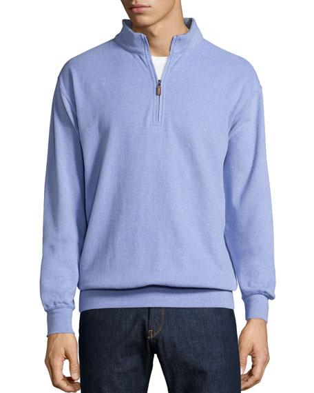 Peter Millar Melange Fleece Quarter-Zip Sweater, Fog