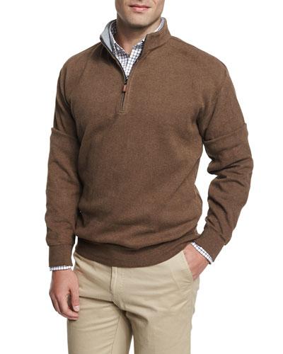 Melange Fleece Quarter-Zip Sweater, Wicker