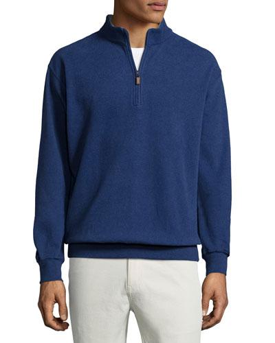 Melange Fleece Quarter-Zip Sweater, Patriot Navy